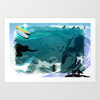 surfing Art Prints featuring Surfing by Robin Curtiss