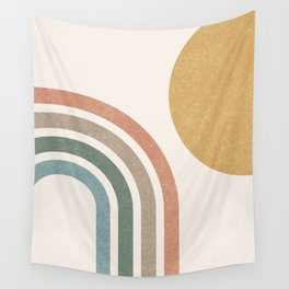 Mid Century Colorful Sun & Rainbow Wall Tapestry