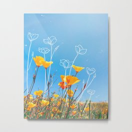 Orange Poppy Field Metal Print