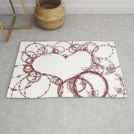 Circles make Heart Multi Design Line Art Rug