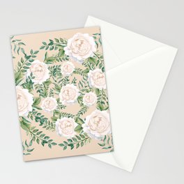 Garden Roses Mandala Pink Green Cream Stationery Cards