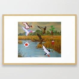Flock of 8 bits Framed Art Print
