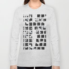 Squares abstact painting in black and white Long Sleeve T-shirt