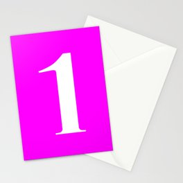 1 (WHITE & FUCHSIA NUMBERS) Stationery Cards