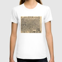 Vintage Pictorial Map of Waterbury CT (1899) T-shirt