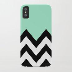 MINT GREEN COLORBLOCK CHEVRON iPhone X Slim Case