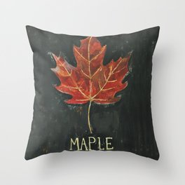 Fall Red Maple Leaf Black Background Throw Pillow