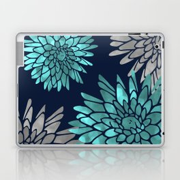Floral Chrysanthemum Modern Navy Aqua Laptop & iPad Skin