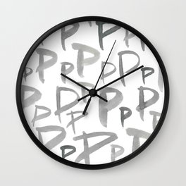 Watercolor P's - Grey Gray Wall Clock