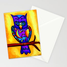 Day & Night Sun & Moon Purple Owl Stationery Cards