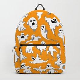 Halloween Ghost Pattern on Orange Backpack