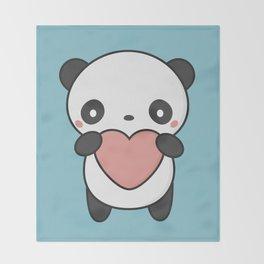 Kawaii Cute Panda With A Heart Throw Blanket