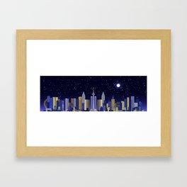 Future Cityscape 001 // Nightfall Framed Art Print
