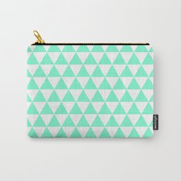 Triangles (Aquamarine/White) Carry-All Pouch