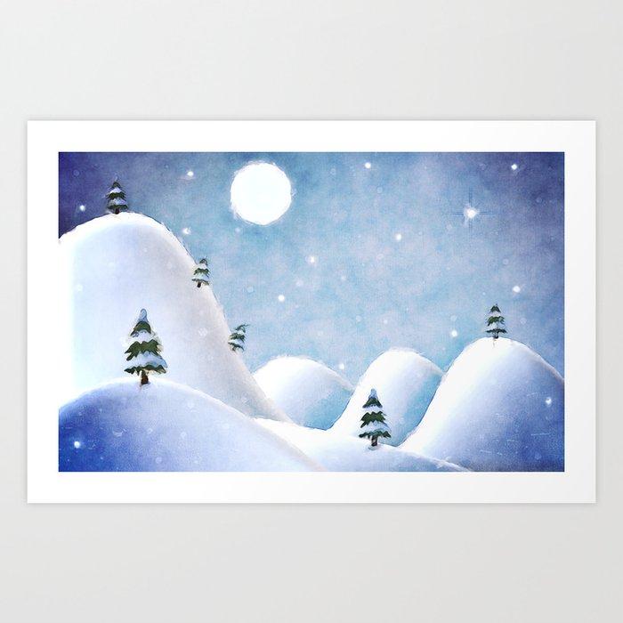 Winter Landscape Under Full Moon Art Print
