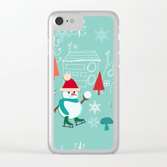 winter fun blue Clear iPhone Case