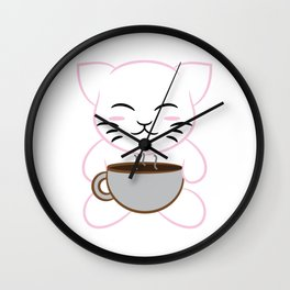 """Cute and Kawaii Coffee Cat"" for everyone! Will absolutely make you smile anytime!  Wall Clock"