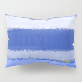 Blue White Abstract Low Poly Geometric Triangles Pillow Sham