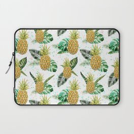Summer tropical green yellow pineapple leaves watercolor floral Laptop Sleeve