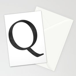 Letter Q Initial Monogram Black and White Stationery Cards