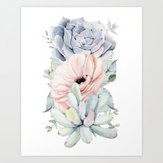 Pastel Succulents by Nature Magick Art Print