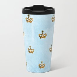 Gold crowns on lightblue watercolor backround- pattern Travel Mug