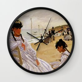On the Beach at Trouville by Claude Monet Wall Clock