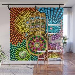 Hamsa Hand, hand of fatima, mandala, yoga art, mandala art, meditation art Wall Mural