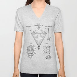 Parachute Patent - Sky Diving Art - Black And White Unisex V-Neck