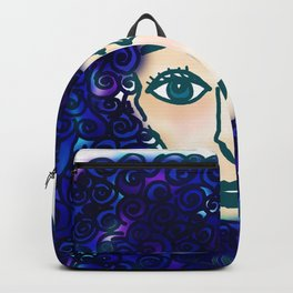 portrait of young woman with blue curly hair Backpack