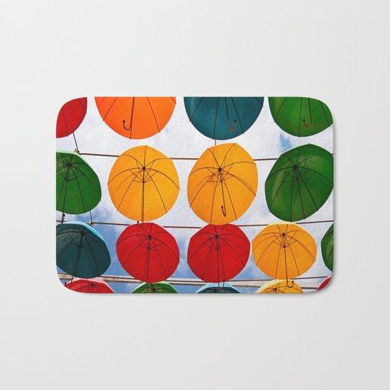 colorful umbrella Bath Mat