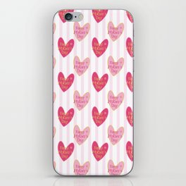 Blush pink white stripes heart mother's day typography iPhone Skin