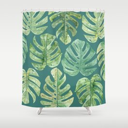 Jungle leaves Monstera leaves Palm leaves Tropical Shower Curtain