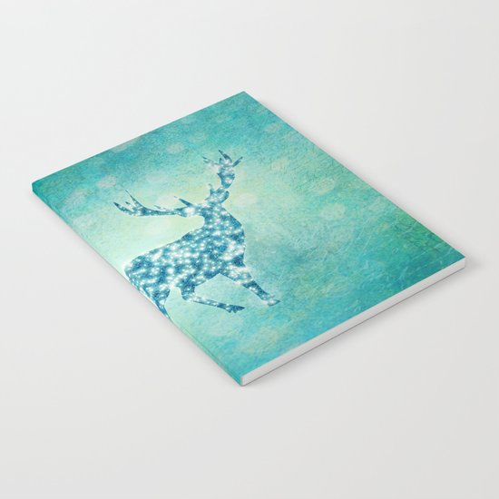Aqua Turquoise Animal with Glitter Effect -Blue deer on #Society6 Notebook