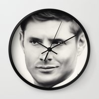 dean winchester Wall Clocks featuring Dean Winchester B&W by Kaye Pyle