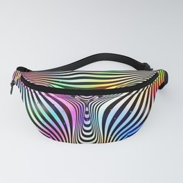 Holographic hypnotic pattern. Colorful iridescent effect. Fanny Pack