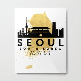SEOUL SOUTH KOREA SILHOUETTE SKYLINE MAP ART Metal Print
