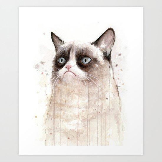 Grumpy Watercolor Cat Geek Meme Whimsical Animals Art Print