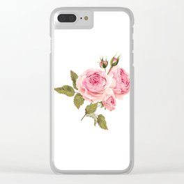 Lonely Pink Rose Floral Kingdom Sumptuous Fantasy Flower Pattern Clear iPhone Case