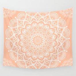 Elegant Peach Mandala Wall Tapestry
