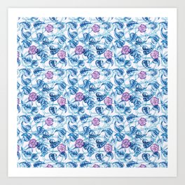 Ipomea Flower_ Morning Glory Floral Pattern Art Print