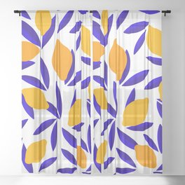 Blue and yellow Lemon Summery Pattern Sheer Curtain