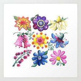 Pretty Flowers All in a Row Art Print