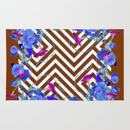 Coffee Brown Blue Morning Glories Abstract Pattern garden  Art Rug