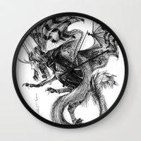 tomb raider Wall Clocks featuring Raider by Rosanna P. Brost