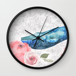 Whale Amongst the Roses Wall Clock