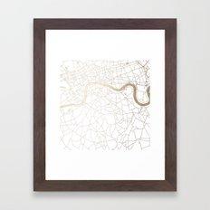 White on Gold London Street Map Framed Art Print