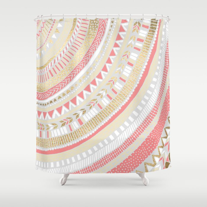 Coral Gold Tribal Shower Curtain
