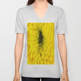 Fluffy Yellow Chrysanthemum Close-up  Unisex V-Neck