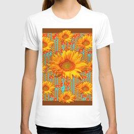 Coffee Brown Sunflower Pattern Orange & Turquoise T-shirt